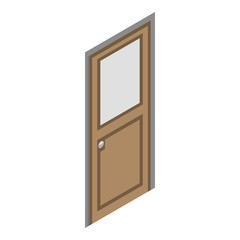 Wood door icon. Isometric of wood door vector icon for web design isolated on white background