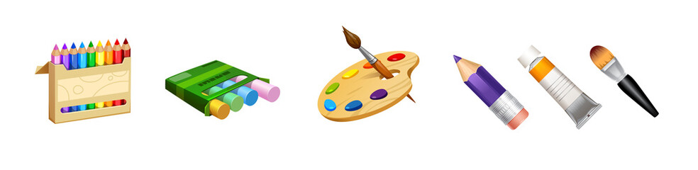 vector set of cute tools the professional artist paint palette crayons, pencils and brushes