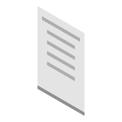 Paper icon. Isometric of paper vector icon for web design isolated on white background