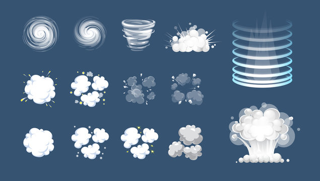 Vector effect. Effect for game. Explode effect animation. Cartoon explosion frames. Puff, boom, burst, explosion, explode animation frames. Boom explode animation, illustration of shot hit animation