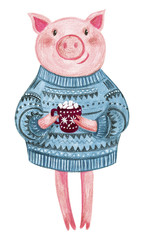 Cute pig in a sweater painted with acrylic. A cup of cocoa with marshmallows. Greeting card for the New Year and Christmas. Cozy children's illustration.