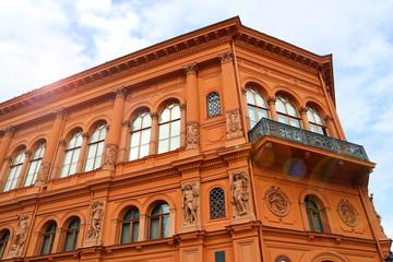 "Art museum ""Riga Stock Exchange"" in the morning with sun beams, Riga, Latvia"