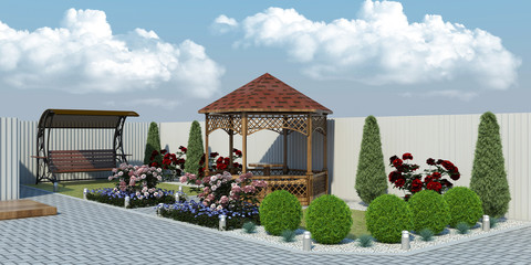 3d illustration of a garden with plants, arbor, exterior visualization, nature and plants, landscape design of the yard