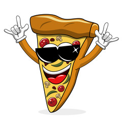 Pizza slice cartoon funny sunglasses rock isolated