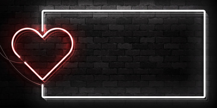 Vector realistic isolated neon sign of Heart frame logo for template decoration and covering on the wall background. Concept of Happy Valentine's Day.