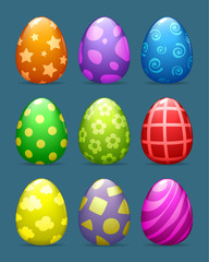 vector color Easter eggs set with different patterns.
