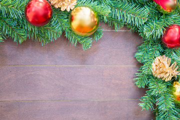 Christmas tree frame with wooden background decoration for seasonal celebration card template