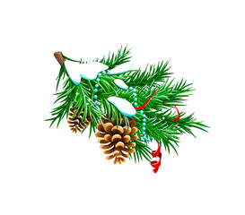 vector illustration of snow-covered fir branch with Christmas holidays decorations
