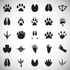 Animal foot prints icons set on white background for graphic and web design, Modern simple vector sign. Internet concept. Trendy symbol for website design web button or mobile app