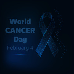 World cancer day February 4 poster with glow low poly ribbon and text on dark blue background.
