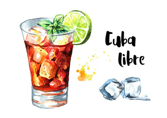 Cuba Libre cocktail with lime and mint. Watercolor hand drawn illustration, isolated on white background