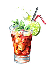 Glass of  Cuba Libre cocktail with lime and mint. Watercolor hand drawn illustration, isolated on white background