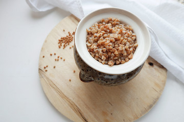 Soaked buckwheat in a pot