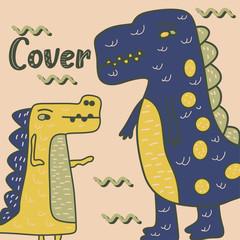 Dinosaur baby girl cute print. Cool brachiosaurus illustration for nursery t-shirt, kids apparel, invitation, simple scandinavian child design. Text slogan. - Vector