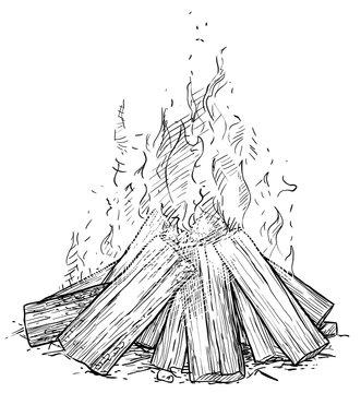 Camp fire illustration, drawing, engraving, ink, line art, vector
