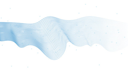 Abstract vector wave lines Light blue color isolated on white background for designing cover, presentation, business template, greeting card, website layout.