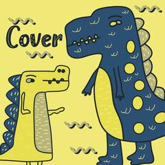 cute dinosaur drawn as vector for kids fashion – Vector