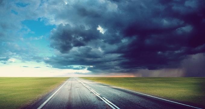 Hurricane tornado road background