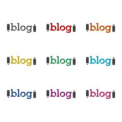 Blog Text sign, icon, logo, color set