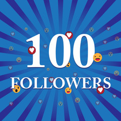 Social media banner with thank you for 100 followers. Blue card with Thank you celebrate all subscribers or followers with simple post