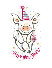 Card with funny little pig in a festive cap sits with a Christmas ball. 2019 Happy New Year. Vector illustration in sketch style. New 2019, Chinese year of the pig.