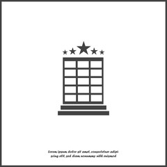 Vector hotel image. Hotel business icon. Image icon  five-star hotel on white isolated background. Layers grouped for easy editing illustration. For your design.