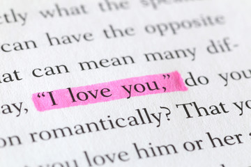 """Highlighted English Expression """"I Love You"""" in a Book"""