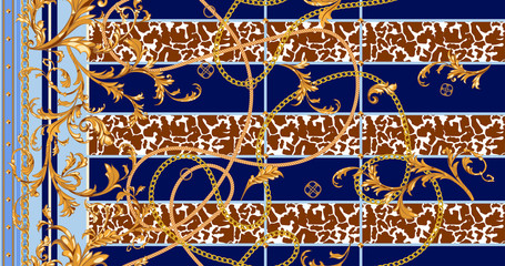 Baroque seamless pattern with golden chains and stucco. Vector patch for scarfs, print, fabric.