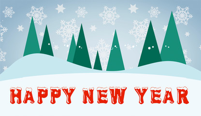 Happy new year creative postcard with red snow text