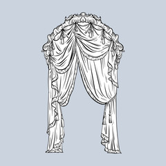 Vector hand drawn illustration of window curtain made in sketch style. Curtain baroque design with circle frame. Beautiful template for business card, poster, banner, print, label.