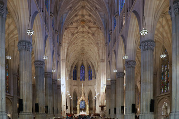 NEW YORK,USA - AUGUST 20,2016: Interior of Saint Patrick's Cathedral in New York City.