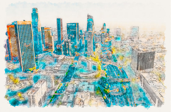 Aerial view of a Downtown Los Angeles at sunset watercolor painting