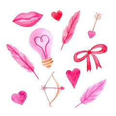 set of watercolor illustrations for Valentine's day: lips, lamp, feathers, bow and arrow