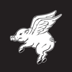 Vector hand drawn illustration of flying pig. Tattoo artwork . Template for card, poster, banner, print for t-shirt.