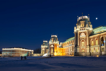 """Palace and Park ensemble """"Tsaritsyno"""" in lunar winter night before Christmas and New Year"""