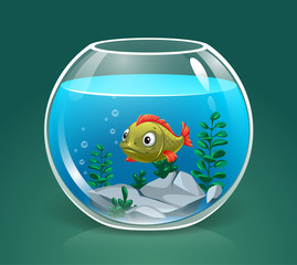 vector single fish swimming in transparent round glass bowl aquarium with stones realistic image print illustration