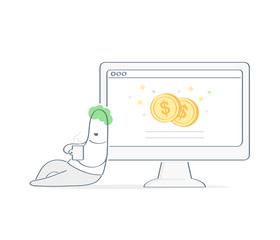 Earn money online while have rest, easy money, web business, freelance, remittance. Cartoon man lies leaning on the computer monitor with currency on the display