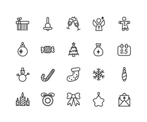 Thin line icons set of christmas, party and celebrations. Outline symbol collection. Editable vector stroke. 48x48 Pixel Perfect.