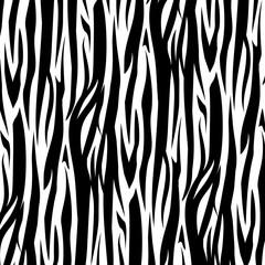 Zebra Stripes Seamless Pattern vector illustration. Black and white.