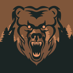Background vector illustration of wolf, tiger, bear, beatiful forest background head face a bear, tiger, wolf, evil