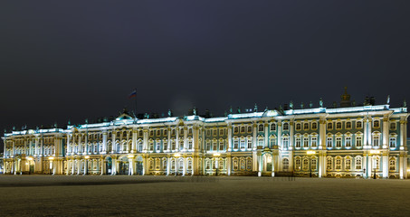 Palace square and winter Palace Hermitage Museum night view with bright lighting, St. Petersburg, Russia