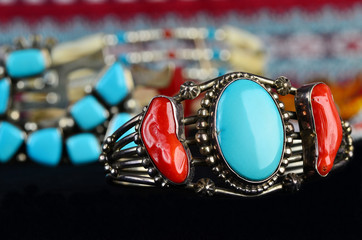 Selective Focus on Turquoise and Silver Indian Jewelry