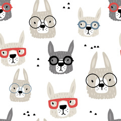 Seamless pattern with funny alpaka in glasses. Creative hand drawn llama childish texture. Great for fabric, textile Vector Illustration