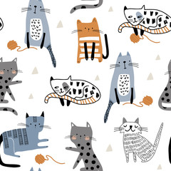 Seamless pattern with cute Kittens in diferent style playing with balls of yarn. Creative childish texture. Great for fabric, textile Vector Illustration