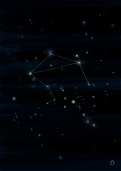 Libra constellation drawing on its real sky location