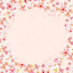 Watercolor Spring Flowers, Pink Floral Background