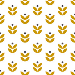 Simple seamless geometric pattern in scandinavian style. Retro floral motif. Vector wallpaper.