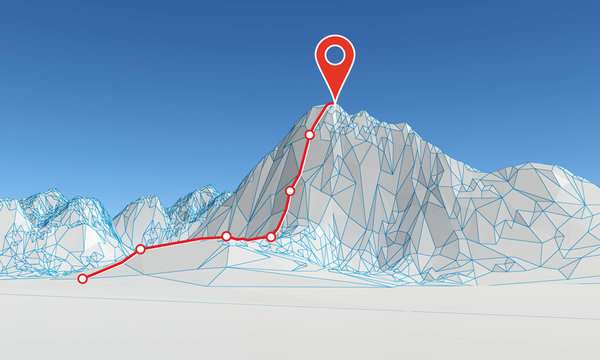 abstract polygonal mountain with route to the top