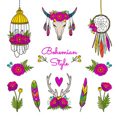 Vector collection of boho style elements.