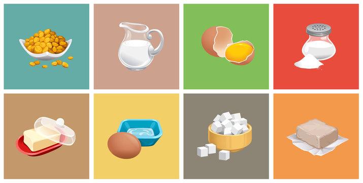 vector set of realistic pitcher of milk butter sugar salt